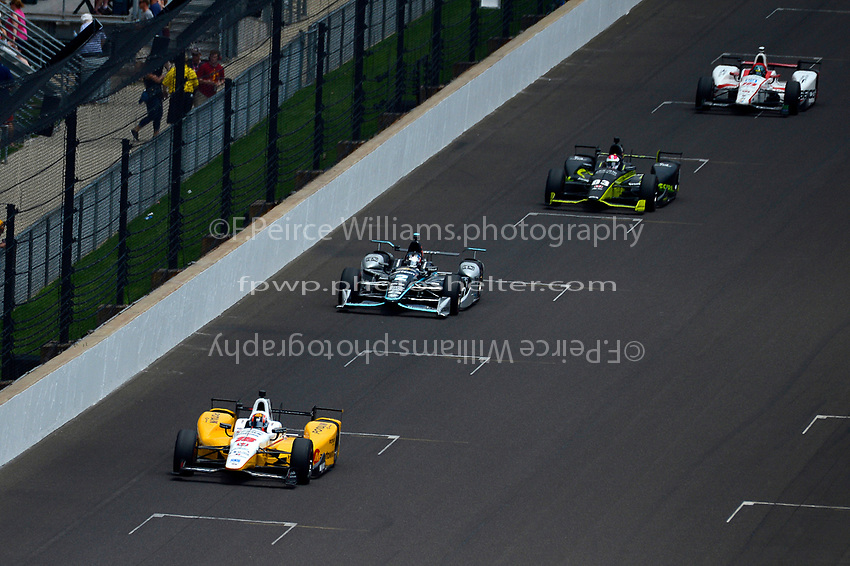 Verizon IndyCar Series<br /> Indianapolis 500 Race<br /> Indianapolis Motor Speedway, Indianapolis, IN USA<br /> Sunday 28 May 2017<br /> Oriol Servia, Rahal Letterman Lanigan Racing Honda, Josef Newgarden, Team Penske Chevrolet, Juan Pablo Montoya, Team Penske Chevrolet, Ed Jones, Dale Coyne Racing Honda<br /> World Copyright: F. Peirce Williams<br /> LAT Images