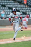 Deiner Lopez (10) of the Salem Red Sox hustles towards home plate against the Winston-Salem Dash at BB&T Ballpark on May 31, 2015 in Winston-Salem, North Carolina.  The Red Sox defeated the Dash 6-5.  (Brian Westerholt/Four Seam Images)