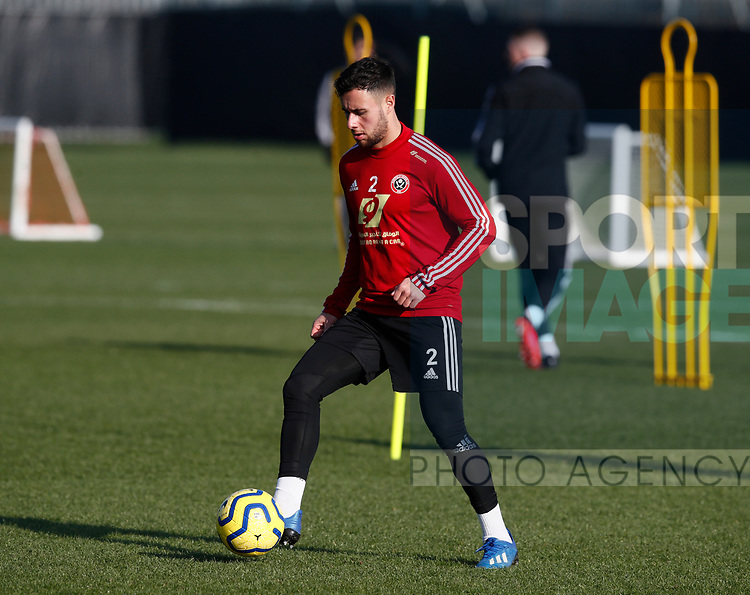 George Baldock of Sheffield Utd during the Press Conference & Training at the Steelphalt Academy, Sheffield. Picture date: 7th February 2020. Picture credit should read: Simon Bellis/Sportimage
