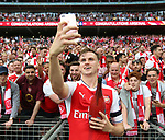 Rob Holding of Arsenal takes a selfie with the fans during the Emirates FA Cup Final match at Wembley Stadium, London. Picture date: May 27th, 2017.Picture credit should read: David Klein/Sportimage