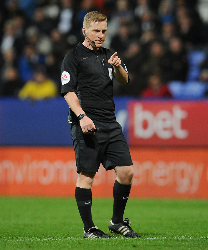 Referee John Busby<br /> <br /> Photographer Kevin Barnes/CameraSport<br /> <br /> The EFL Sky Bet League One - Bolton Wanderers v Blackpool - Monday 7th October 2019 - University of Bolton Stadium - Bolton<br /> <br /> World Copyright © 2019 CameraSport. All rights reserved. 43 Linden Ave. Countesthorpe. Leicester. England. LE8 5PG - Tel: +44 (0) 116 277 4147 - admin@camerasport.com - www.camerasport.com