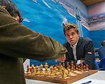 14012017,  Nederland, Wijk aan Zee, Tata Steel Chess tounament<br />  foto Michael Kooren<br /> Noorse superster van het mondiale schaken, Magnus Carlsen,  speelt in Wijk aan Zee voor de 13e keer.