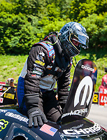 Jun 16, 2018; Bristol, TN, USA; NHRA funny car driver Matt Hagan during qualifying for the Thunder Valley Nationals at Bristol Dragway. Mandatory Credit: Mark J. Rebilas-USA TODAY Sports