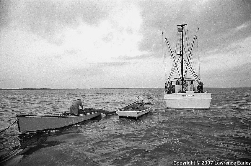 Fishermen set out nets in the long-haul fishing operation.  Two boats will tow the nets in the deep portion of Core Sound to the shallows where the fish are captured.  This form of fishing is a tradition in the fishing village of Atlantic, in Down East North Carolina.