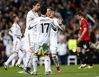 Real Madrid's Sami Khedira, Alvaro Arbeloa and Cristiano Ronaldo celebrate goal during Champions League 2012/2013 match.February 12,2013. (ALTERPHOTOS/Alfaqui/Cesar Cebolla) /NortePhoto