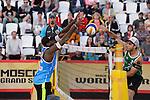 30.05.2015, Moskau, Vodny Stadion<br /> Moskau Grand Slam, Main Draw / Halbfinale<br /> <br /> Block Evandro Goncalves (#2 BRA) - Angriff Bruno Oscar Schmidt (#2 BRA)<br /> <br />   Foto © nordphoto / Kurth