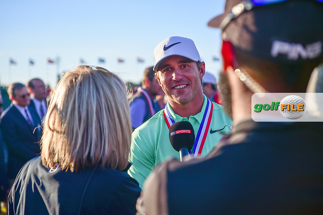 Brooks Koepka (USA) is interviewed after winning the 117th U.S. Open, at Erin Hills, Erin, Wisconsin. 6/18/2017.<br /> Picture: Golffile | Ken Murray<br /> <br /> <br /> All photo usage must carry mandatory copyright credit (&copy; Golffile | Ken Murray)
