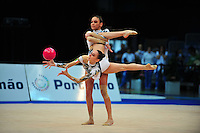 Senior group from Italy (Romina Laurito, Elisa Santoni) performs routine at 2011 World Cup at Portimao, Portugal on May 01, 2011.