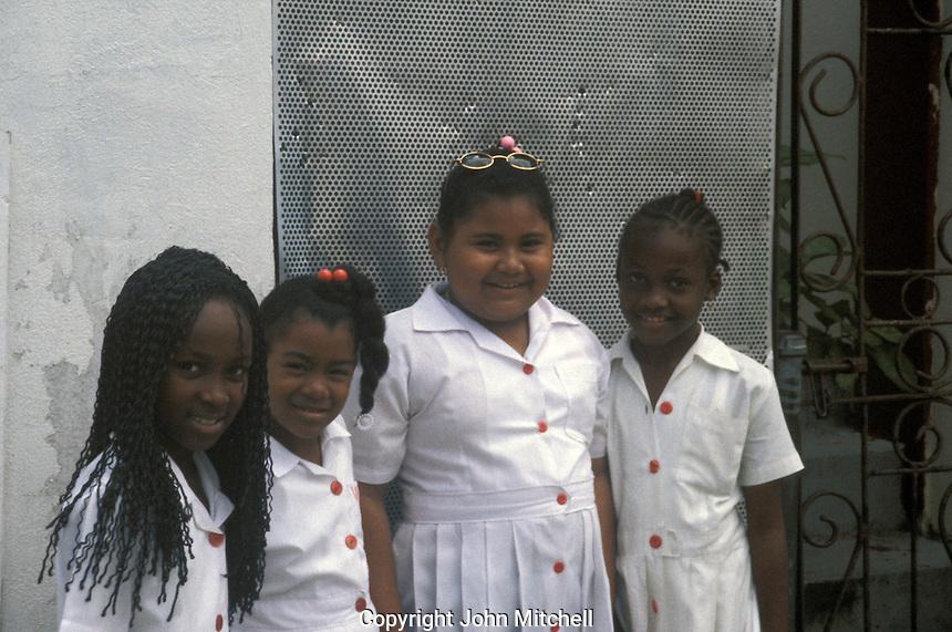 Elementary school girls in Belize City, Belize
