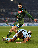 Football, Serie A: S.S. Lazio - Napoli, Olympic stadium, Rome, January 11, 2020.<br /> Napoli's Kostas Manolas (top) in action with Lazio's Ciro immobile (bottom) during the Italian Serie A football match between S.S. Lazio and Napoli at Rome's Olympic stadium, Rome , on January 11, 2020.<br /> UPDATE IMAGES PRESS/Isabella Bonotto