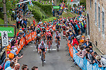 Peloton to the finish with Michal Kwiatkowski (POL) Team Sky during the 2019 La Fl&egrave;che Wallonne running 195 km racing from Ans to Mur de Huy, Belgium. 24th April 2019. Picture: Pim Nijland | Peloton Photos / Cyclefile<br /> <br /> All photos usage must carry mandatory copyright credit (Peloton Photos/Cyclefile | Pim Nijland)