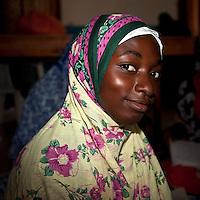 Jambiani, Zanzibar, Tanzania.  Young African Muslim Woman.
