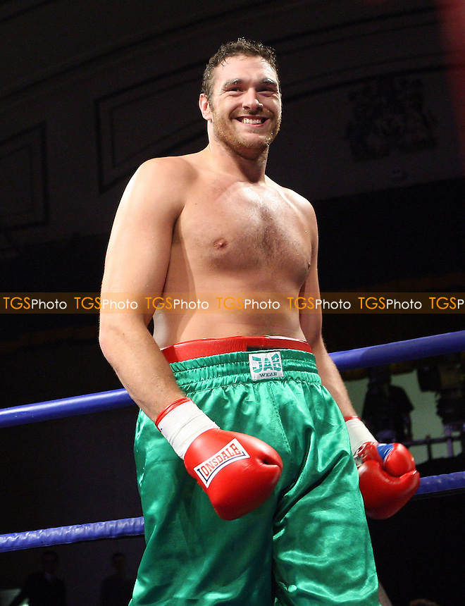 Tyson Fury (Manchester, green shorts) defeats Matthew Ellis (Blackpool, silver shorts) in a Heavyweight boxing at York Hall, Bethnal Green, London, promoted by Hennessy Sports -  11/04/09 - MANDATORY CREDIT: Gavin Ellis/TGSPHOTO - Self billing applies where appropriate - Tel: 0845 094 6026