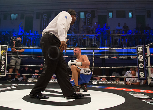 1st September 2017, York Hall, London, England; Matchroom Boxing, JD NXT GEN LONDON; Ted Cheeseman Versus Francesco Lezzi; Fernando Heredia receives an eight count during his fight against Felix Cash