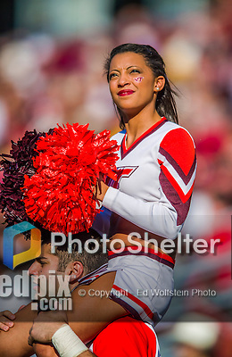 2 November 2013: A Virginia Tech Hokies cheerleader smiles in the sunshine during a game against the Boston College Eagles at Alumni Stadium in Chestnut Hill, MA. The Eagles defeated the Hokies 34-27. Mandatory Credit: Ed Wolfstein-USA TODAY Sports *** RAW (NEF) Image File Available ***