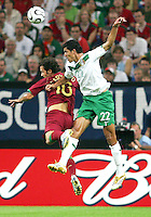 Francisco Rodriguez (22) of Mexico heads away from Ricardo Carvalho (16) of Portugal. Portugal defeated Mexico 2-1 in their FIFA World Cup Group D match at FIFA World Cup Stadium, Gelsenkirchen, Germany, June 21, 2006.