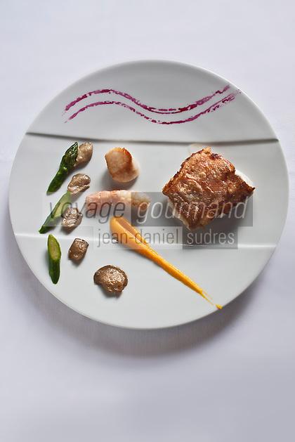 Europe/France/Pays de la Loire/44/Loire-Atlantique/Nantes: Filets de Sébaste aux mini pleurotes et asperges vertes, velouté de butternut, recette de David Garrec  du restaurant l'Océanide