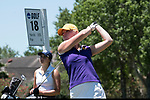 HOUSTON, TX - MAY 12: Elizabeth Gudas of Williams College tees off during the Division III Women's Golf Championship held at Bay Oaks Country Club on May 12, 2017 in Houston, Texas. (Photo by Rudy Gonzalez/NCAA Photos/NCAA Photos via Getty Images)