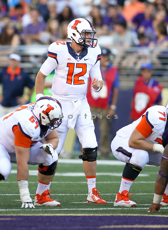 Illinois Illini Wes Lunt (12) during a game against the Washington Huskies on September 13, 2014 at Husky Stadium in Seattle, WA. Washington beat Illinois 44-19.