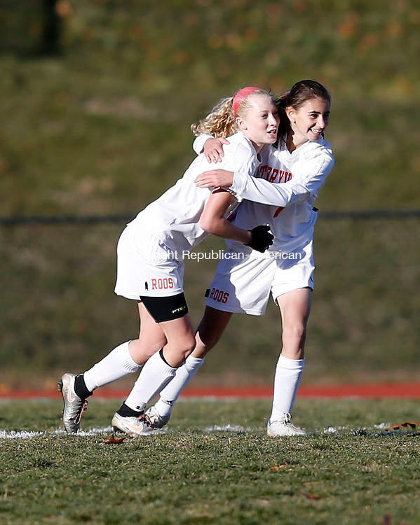 Terryville, CT- 11 November 2016-111116CM10- Terryville's Amy Roqi right, congratulates teammate, Jenna Covello after scoring a goal against Bolton during their state tournament matchup on Friday.     Christopher Massa Republican-American