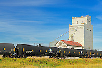 Grain elevator and train<br /> Wilcox<br /> Saskatchewan<br /> Canada