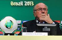 RIO DE JANEIRO, RJ, 28.06.2013 - COLETIVA / FIFA - O presidente da FIFA, Joseph Blatter durante coletiva de imprensa  após a reunião do Comitê Organizador da Copa das Confederações da FIFA no Estádio do Maracanã no Rio de Janeiro, nesta sexta-feira, 28. (Foto: Vanessa Carvalho / Brazil Photo Press).