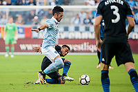 Kansas City, KS - Wednesday August 9, 2017: Benny Feilhaber, Darwin Ceren during a Lamar Hunt U.S. Open Cup Semifinal match between Sporting Kansas City and the San Jose Earthquakes at Children's Mercy Park.