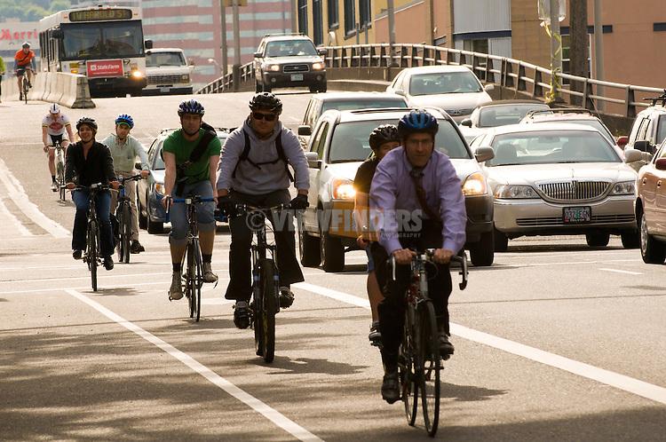 Bicyclist on Hawthorne Street, Portland, Oregon