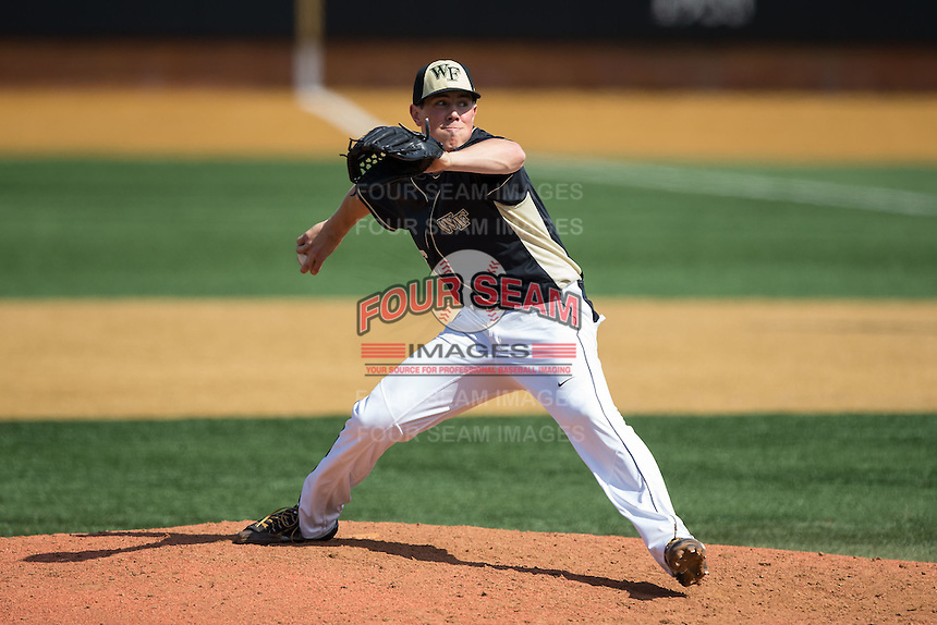 Wake Forest Demon Deacons relief pitcher Parker Dunshee (36) in action against the Miami Hurricanes at Wake Forest Baseball Park on March 22, 2015 in Winston-Salem, North Carolina.  The Demon Deacons defeated the Hurricanes 10-4.  (Brian Westerholt/Four Seam Images)