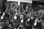 Willisden, London. 1977<br /> Pickets behind the police lines at the Grunwick industrial dispute.