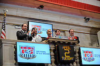 Stefhan Jekel, managing director of EMEA, U.S. Soccer President Sunil Gulati, USWNT midfielder Carli Lloyd, former U.S. Men's National Team star Jeff Agoos, and New York Red Bulls general manager Jerome de Bontin ring the closing bell during the centennial celebration of U. S. Soccer at the New York Stock Exchange in New York, NY, on April 02, 2013.