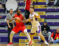 Stony Brook defeats UAlbany  69-60 in the America East Conference tournament quaterfinals at the  SEFCU Arena, Mar. 3, 2018. Akwasi Yeboah (#15) and Greg Stire (#43).