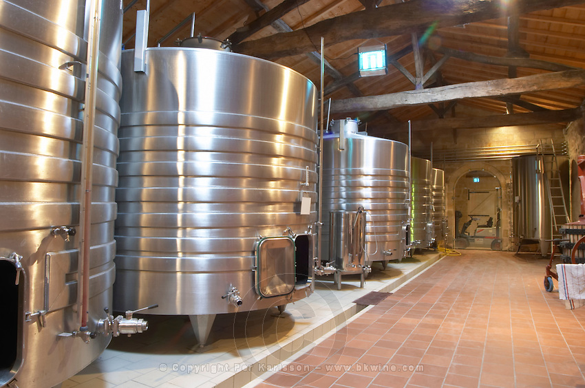 Fermentation tanks. Chateau Clos Fourtet, Saint Emilion, Bordeaux, France