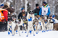 A Wade Marrs lead dog jumps in anticipation of leaving during the restart of the 2019 Iditarod race in Willow, Alaska on Sunday March 3, 2019.<br /> <br /> Photo by Jeff Schultz/  (C) 2019  ALL RIGHTS RESERVED