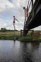 Swim in the Nene river with Vita, Annuska, Flix, Lucas, Mitchell, Louis, Matthew, Alix, Niels, Octavia and Bas in North Hamptonshire, England.