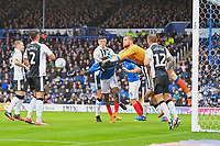 Gillingham  keeper Tomas Holy  punches the ball clear off the head of Jamal Lowe of Portsmouth during Portsmouth vs Gillingham, Sky Bet EFL League 1 Football at Fratton Park on 6th October 2018