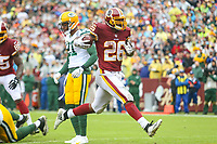 Landover, MD - September 23, 2018: Washington Redskins running back Adrian Peterson (26) scored a touchdown during the  game between Green Bay Packers and Washington Redskins at FedEx Field in Landover, MD.   (Photo by Elliott Brown/Media Images International)