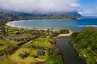 Hanalei River, Pier, Beach and Bay on Kaua'i.