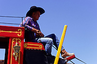 cowboy on a red horse carriage in Tombstone wild west   outdoor museum in Arizona, USA