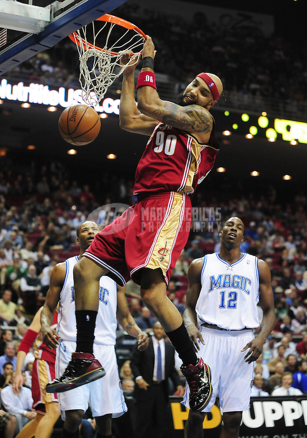 Feb. 11, 2008; Orlando, FL, USA; Cleveland Cavaliers player Drew Gooden (90) against the Orlando Magic at Amway Arena Mandatory Credit: Mark J. Rebilas-