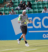 June 11th 2017, Nottingham, England; ATP Aegon Nottingham Open Tennis Tournament day 2;  Backhand from Sam Groth of Australia who beat Finn Bass of Great Britain