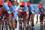 Team Katusha Alpecin in action during Stage 1 of La Vuelta 2019, a team time trial running 13.4km from Salinas de Torrevieja to Torrevieja, Spain. 24th August 2019.<br /> Picture: Eoin Clarke | Cyclefile<br /> <br /> All photos usage must carry mandatory copyright credit (© Cyclefile | Eoin Clarke)