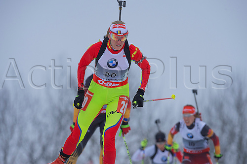 22.03.2014  Oslo, Norway The E.ON IBU World Cup Biathlon 2014 Eva Tofalvi of Romania in action during the ladies 10 kilometre  pursuit at The EON IBU World Cup Biathlon Final from Holmenkollen in Oslo, Norway.
