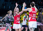 28/10/17 Fast5 2017<br /> Fast 5 Netball World Series<br /> Hisense Arena Melbourne<br /> England v Sth Africa<br /> <br /> Natalie Haythornthwaite and Rachel Dunn<br /> <br /> <br /> <br /> Photo: Grant Treeby