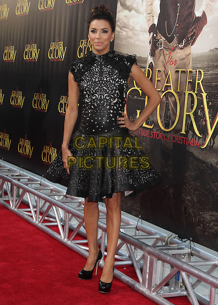 Eva Longoria.'For Greater Glory' LA premiere held at the AMPAS Samuel Goldwyn Theater, Beverly Hills, California, USA..31st May 2012 .full length dress black leather perforated pattern hair up bun  hand on hip.CAP/ADM/RE.©Russ Elliot/AdMedia/Capital Pictures.