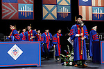 Corey Celt, student speaker, carries the university mace during the procession at the DePaul University College of Law commencement ceremony, Sunday, May 14, 2017, at the Rosemont Theatre in Rosemont, IL, where some 240 students received their Juris Doctors or Master of Laws degrees. (DePaul University/Jeff Carrion)