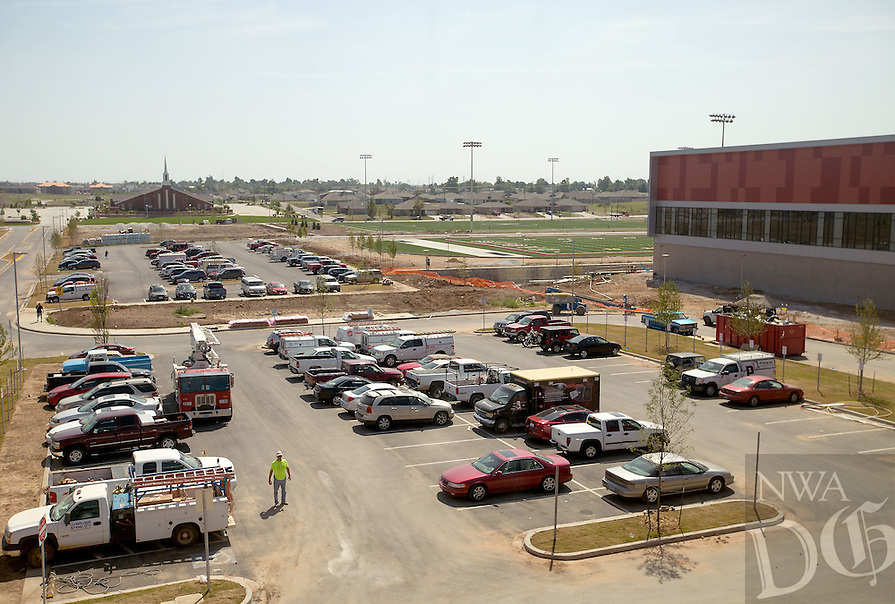 NWA Media/JASON IVESTER --08/21/2014--<br /> Looking east from inside the new Joplin High School in Joplin, Mo. The school was originally scheduled to open with the rest of the school district on Monday, Aug. 25, but was pushed back to Tuesday, Sept. 2.