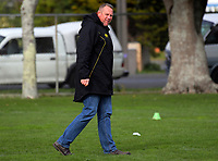 Lions coach Chris Gibbes watches Manawatu warm up for the Mitre 10 Cup preseason rugby match between the Wellington Lions and Manawatu Turbos at Otaki Domain in Otaki, New Zealand on Sunday, 6 August 2017. Photo: Dave Lintott / lintottphoto.co.nz