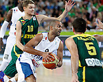 "France`s Tony Parker in action during European basketball championship ""Eurobasket 2013""  final game between France and Lithuania in Stozice Arena in Ljubljana, Slovenia, on September 22. 2013. (credit: Pedja Milosavljevic  / thepedja@gmail.com / +381641260959)"