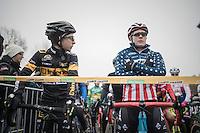 Jolien Verschueren (BEL/Telenet-Fidea) checking Katie Compton (USA/KFCracing) out on the start grid<br /> <br /> 2016 CX UCI World Cup Zeven (DEU)